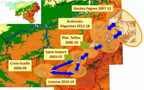 Cartographie des 6 projets LIFE du Meta-projet Tourbières
