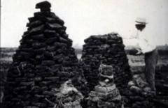 Exploitation d'une tourbière et séchage de briquettes de tourbe (Plateau des Tailles)