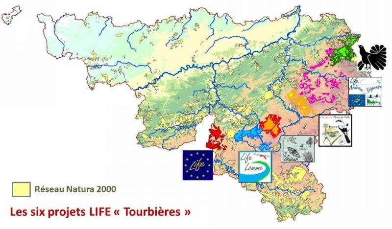 Localisation des 6 projets du Metaprojet tourbières